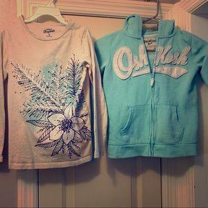 Osh Kosh zip hoodie/long sleeve tee bundle sz8Girl
